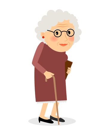 Old woman with cane. Senior lady with glasses walking. Vector illustration. Çizim