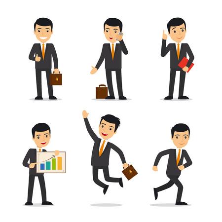 Hombre de negocios en diferentes poses con el caso, libro, y móvil. ilustración del vector.