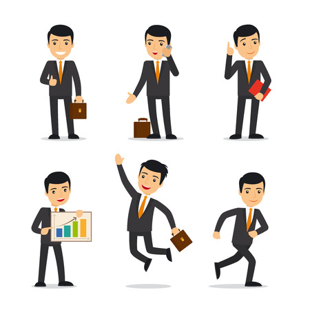 Businessman in different poses with case, book, and sellphone. Isolated vector illustration. Illustration