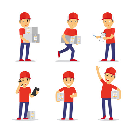 Delivery man in differeny poses with cardboard boxes abd sellphone. Vector illustration.
