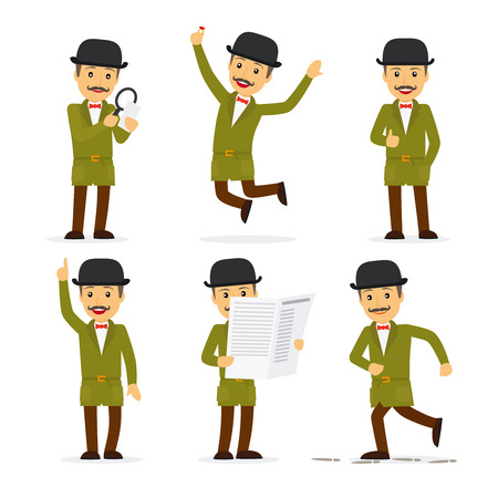 Detective character in different poses with newspaper and magnifying glass. Vector illustration. Illustration