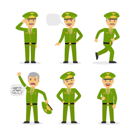 guard duty: Military general character in different poses with speach buble. Vector illustration.