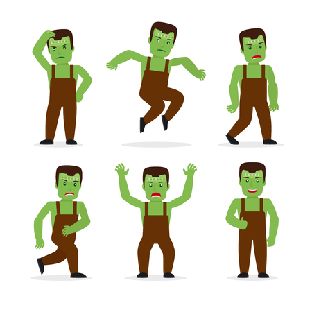 ghost cartoon: Frankenstein monster in different poses. Masquerade party Halloween costume. Vector illustration.