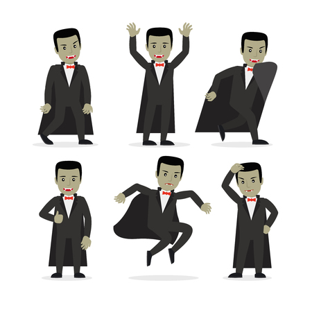 cartoon vampire: Dracula vampire cartoon character in different poses. Halloween party costume. Vector illustration.