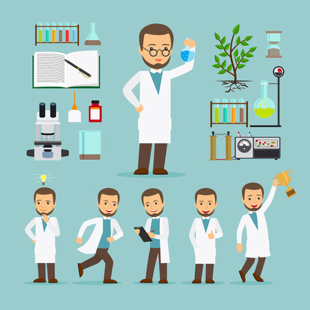 pharmacist: Scientist with laboratory equipment in different poses icons set. Vector illustration.