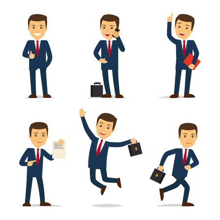 attorney: Lawyer or attorney cartoon character in different poses with case and document and sellphone. Vector illustration.