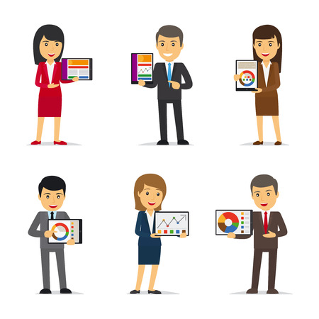 woman tablet: Businesswoman holding tablet PC, businessman showing chart on tablet. Vector illustration. Illustration