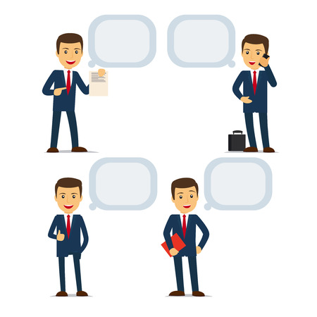 businessteam: Businessman with speech bubbles, holding documents and talking on phone. Vector illustration. Illustration