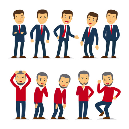 Businessman emotions Vector illustration. Joy and anger, fatigue and excitement