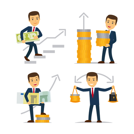 monetization: Happy businessman and money. Revenue growth, profitable business and business monetization. Vector illustration. Illustration