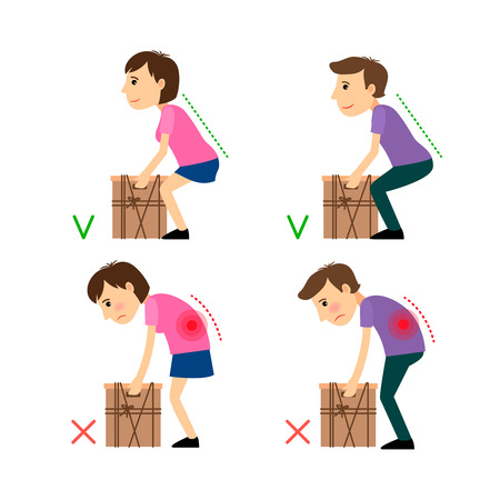 hurting: Incorrect and Correct posture while Weight Lifting. Man and woman liftind bax example. Vector illustration.