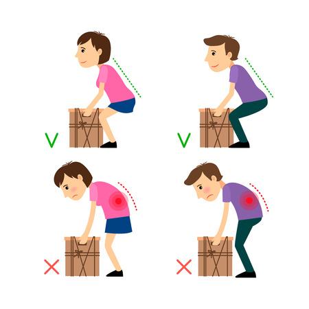 Onjuiste en juiste houding tijdens het Gewichtheffen. Man en vrouw liftind bax voorbeeld. Vector illustratie.