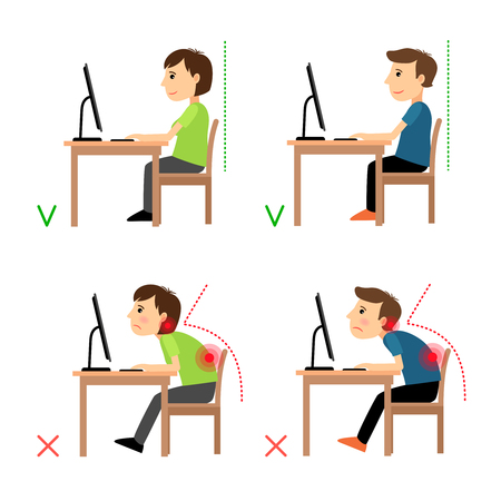 Incorrect and Correct back sitting position. Man and woman sitting before monitor example. Vector illustration. Vettoriali