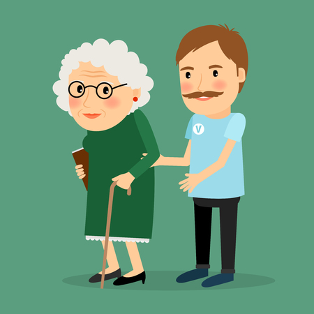 interacting: Volunteer man caring for elderly woman and helping her to walk with her cane. Vector illustration.