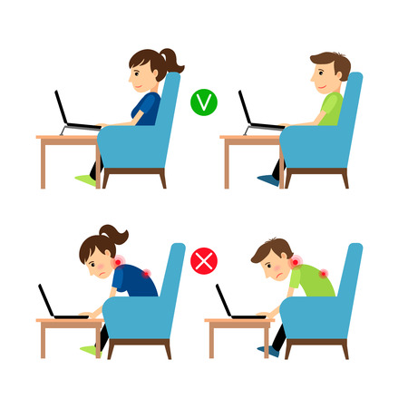 incorrect: Incorrect and Correct laptop use position. Man and woman sitting in armchair with laptop example. Vector illustration.