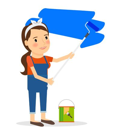 paint wall: Woman paint wall at home. Repair and decoration interior work. Vector illustration.