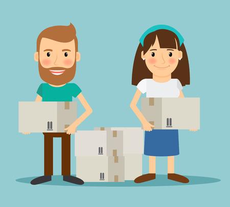 Jeune couple en mouvement. Homme et femme avec des boîtes dans leurs mains. Vector illustration.