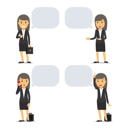 secretary: Business woman with speech bubbles in different poses.  Illustration
