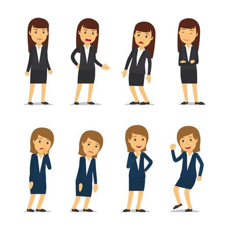 비즈니스 여자 감정 및 사업가 다른 포즈입니다.