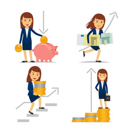 金融の成功への道にお金とビジネスの女性を実業家。
