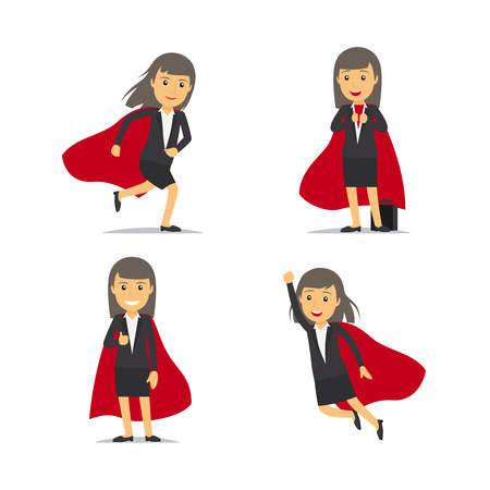 cape: Businesswoman superhero, Super business woman, dressed in red cloak.