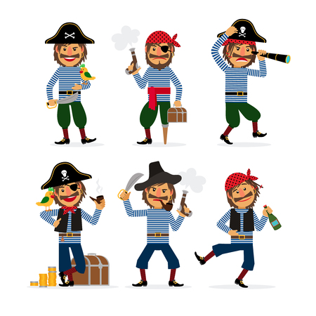 burglar: Cartoon pirate characters with pistol and rum and parrot. Vector illustration. Illustration