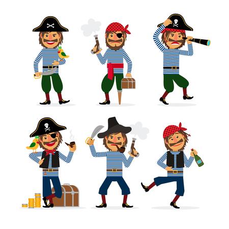 calavera caricatura: personajes de dibujos animados pirata con la pistola y el ron y el loro. Ilustración del vector.