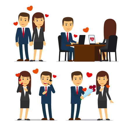 colleagues: Office romance or love affair at work. Vector illustrations