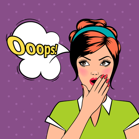 Oops comique pop art femme avec bulles dans le style rétro. Vector illustration.