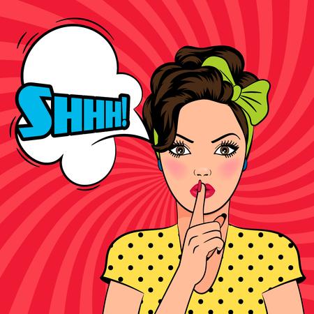Vector pop art vrouw vraagt om stilte met de vinger op haar lippen. Shhh tekst in tekstballon.