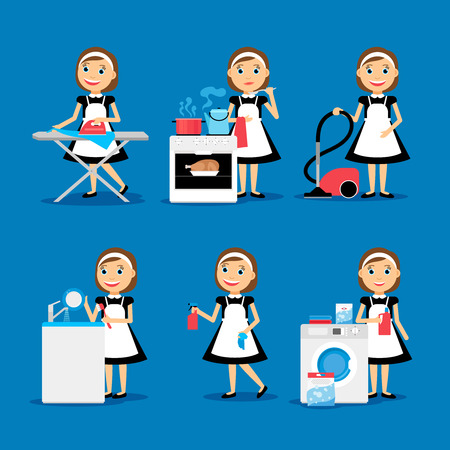 La multitarea housewife ilustración vectorial. Ama de casa mujer de planchar, limpiar, cocinar y lavar