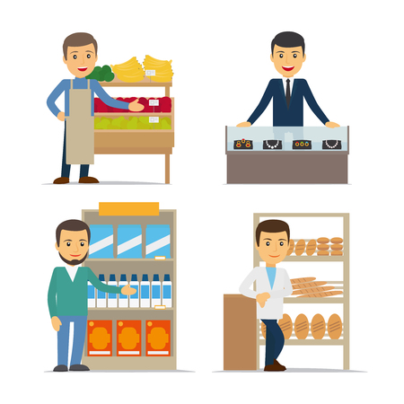 grocery shelves: Seller at the counter vector illustration. Jewelry, bread and grocery store.