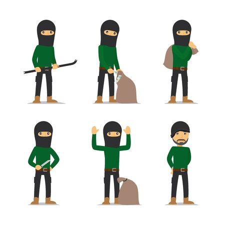 pickpocket: Criminal man. Burglar and thief, robber and bandit vector character.
