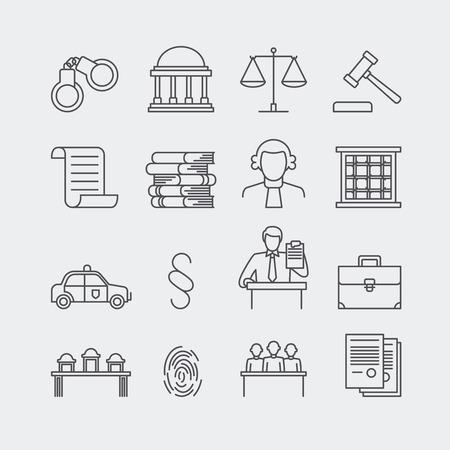 Derecho y la justicia línea fina vector iconos. El sistema legal, juez, policía y abogado