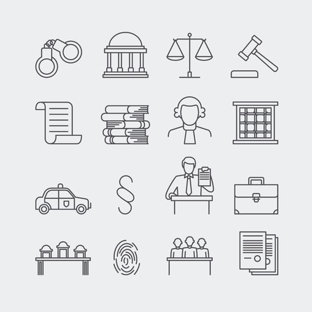 justice legal: Law and justice thin line vector icons. The legal system, judge, police and lawyer