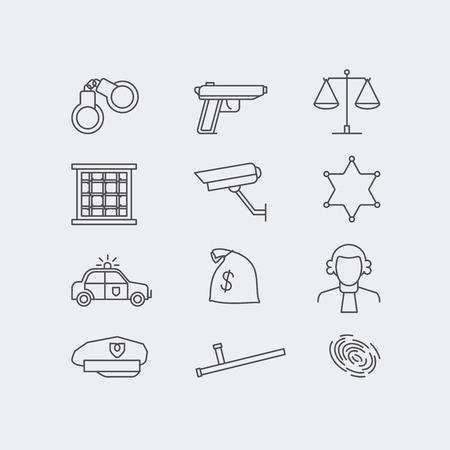 robo de autos: Conjunto de iconos de la delincuencia y la línea de la policía del vector. El sistema legal, jale, coche de policía y escalas