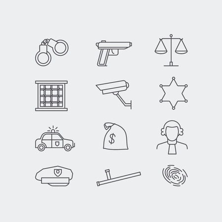 Kriminalität und Polizei Linie Vektor-Icons gesetzt. Das Rechtssystem, jale, Polizeiwagen und Personenwaagen