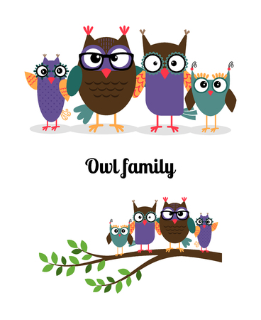 owl family: Owl family. Owl mother, father and children on the branch. Vector illustration