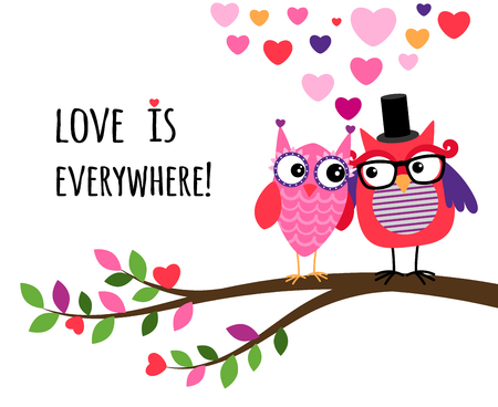 cartoon man: Owl Happy Valentines Day. Owl couple in love, on the branch together. Vector illustration