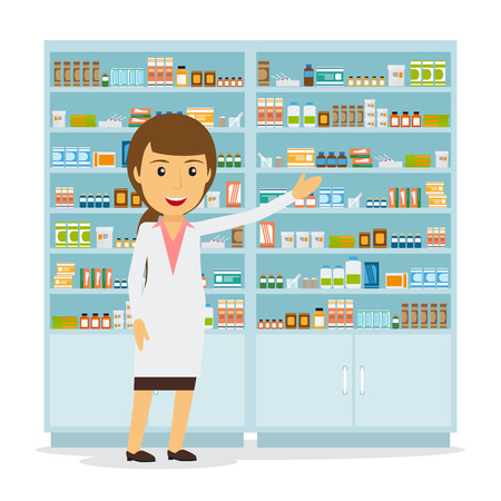 Smiling female pharmacist in pharmacy opposite shelves with medicines. Vector illustration