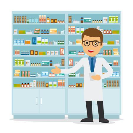 vendedor: farmacéutico de sexo masculino en una farmacia frente a los estantes con medicamentos. Cuidado de la salud. ilustración vectorial Vectores