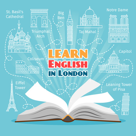 english: Abroad Language School. Studying foreign languages concept. Vector illustration