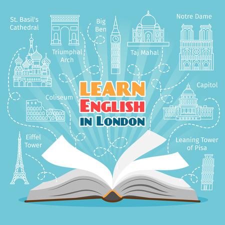 ESTUDIANDO: Idioma en el Extranjero. El estudio de concepto de lenguas extranjeras. ilustración vectorial