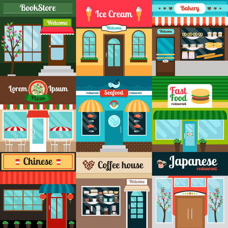 Restaurants with different kind of food facade. Coffee house, bakery, fast food and book stores. Vector illustration