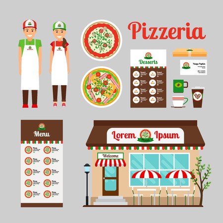 store display: Cafe front design, food and stuff of Pizza house. Vector icons set
