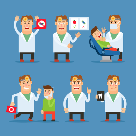 stomatologist: Dentist doctor character. Stomatologist and his patient. Teeth care advice. Vector illustration Illustration