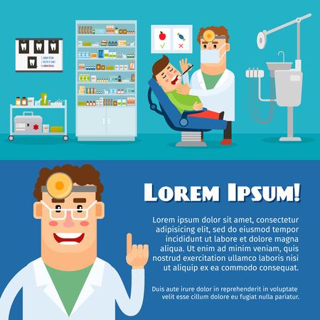 stomatologist: Dental office. Stomatologist and his patient. Vector illustration