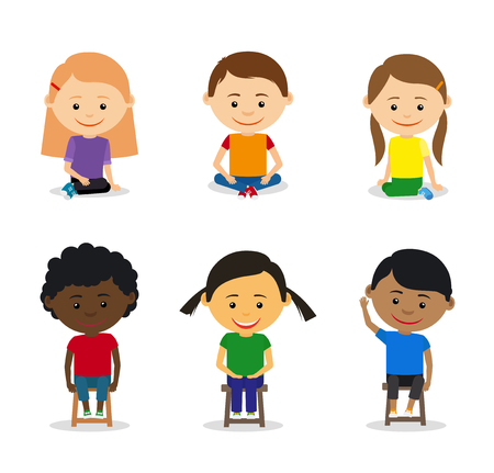I bambini piccoli seduti per terra e bambini seduti su sedie. illustrazione di vettore