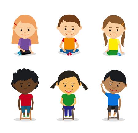 clipart: Los niños pequeños se sientan en el suelo y los niños sentados en sillas. ilustración vectorial