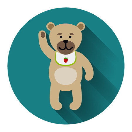 fabric art: Teddy bear icon with shadow on blue background. Vector illustration